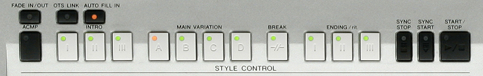 Yamaha PSR-S700 Accompaniment Panel