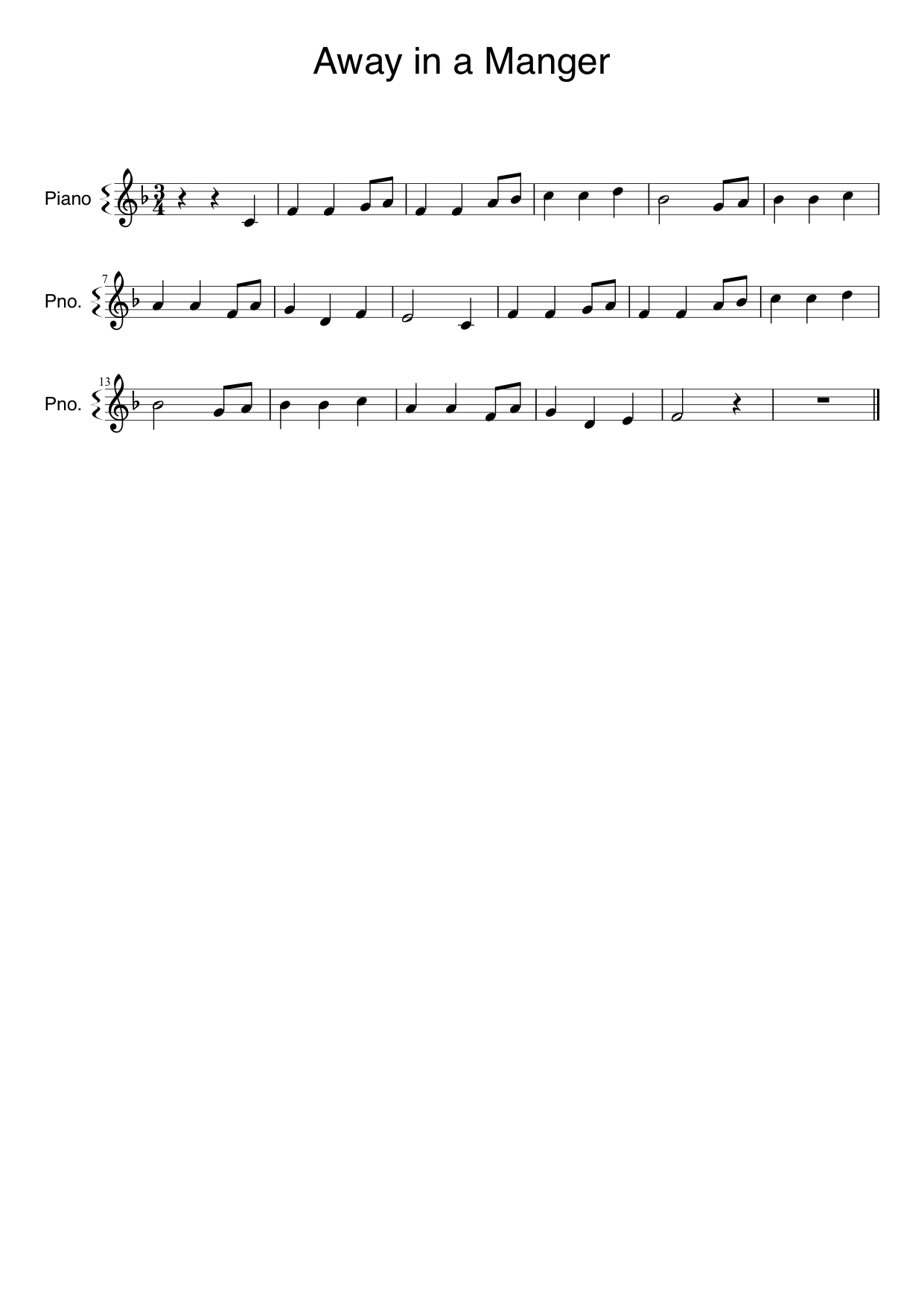 Away in a Manger melody score