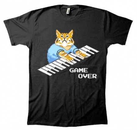 Game Over T Shirt Cat Piano