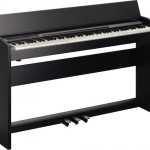 Roland F-120 digital piano black angled view