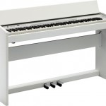 Roland F-120 digital piano white angled view