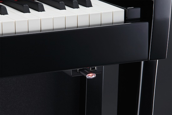 Roland LX-15 digital piano USB port close up