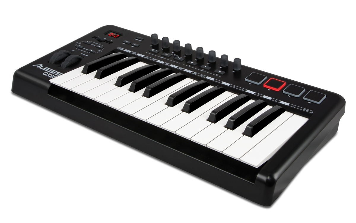 Alesis QX25 Advanced MIDI controller keyboard angled view