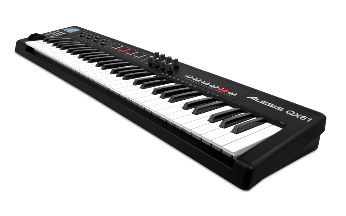 Alesis QX61 Advanced MIDI controller keyboard angled view