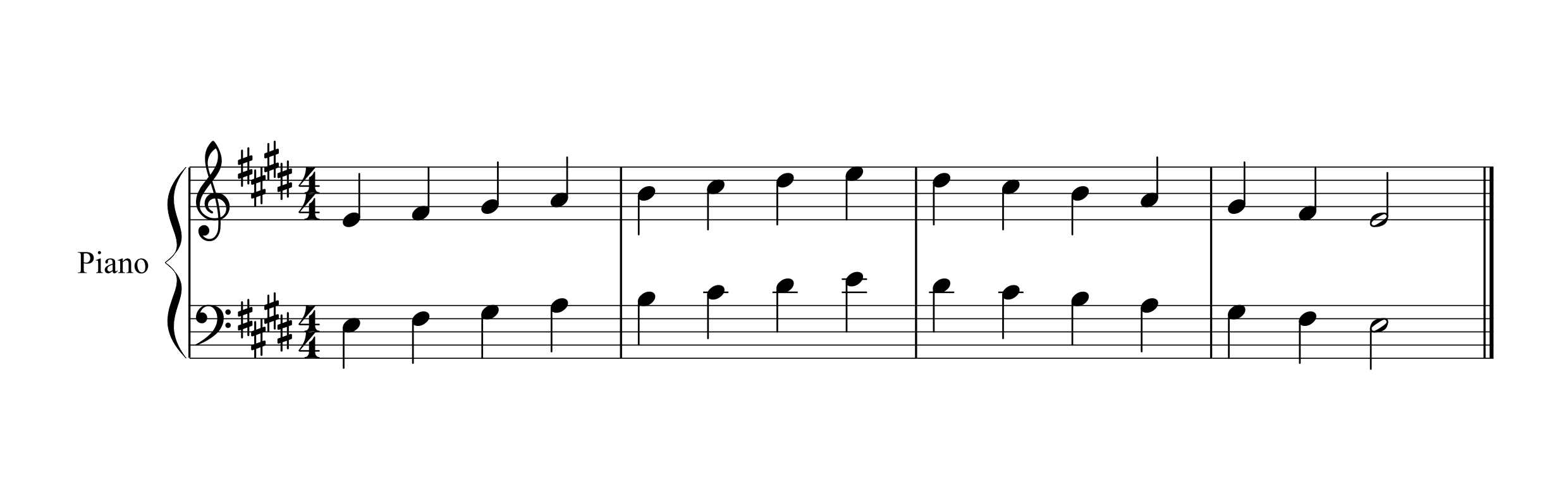E Major Scale music manuscript