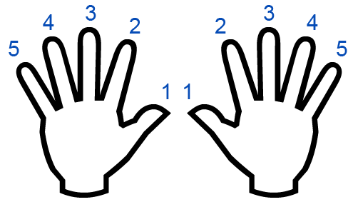 Left and right hands fingering for musical scales