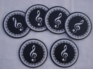 Piano keys treble clef coasters