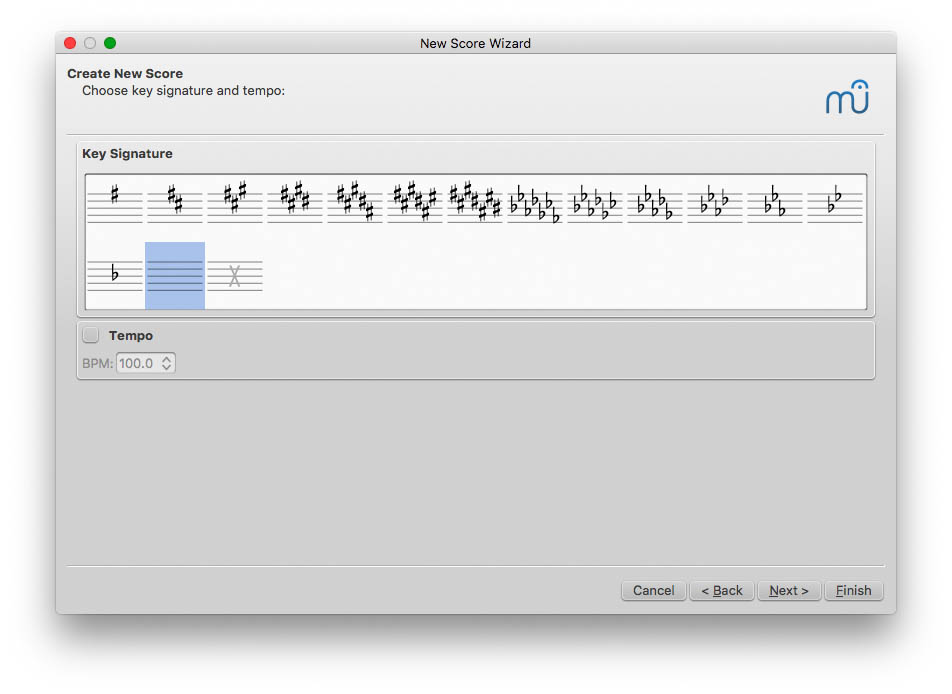 Choose Key Signature/Tempo in MuseScore