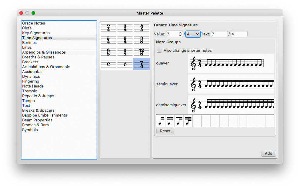 Add custom Time Signature in MuseScore if required