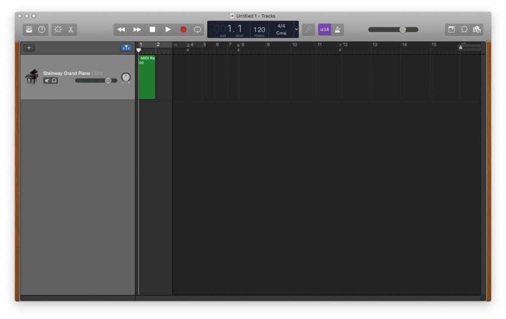 MIDI file imported into GarageBand with time signatures intact