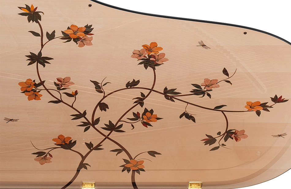 Bösendorfer Dragonfly grand piano lid pattern closeup